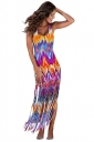Womens Printed Fringed Hem Sleeveless Maxi Tank Dress Orange