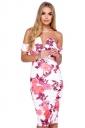 Womens Off Shoulder Floral Printed V-neck Midi Dress Pink