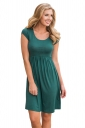 Womens Casual Crew Neck Short Sleeve Skater Dress Green
