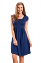 Womens Casual Crew Neck Short Sleeve Skater Dress Sapphire Blue