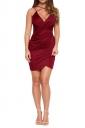 Womens V Neck Draped Spaghetti Straps Clubwear Dress Ruby
