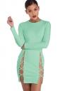 Womens Plain Long Sleeve Cut Out Slit Sides Clubwear Dress Blue