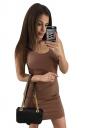 Womens Sexy Backless Slimming Clubwear Dress Coffee