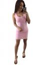 Womens Sexy Backless Slimming Clubwear Dress Pink