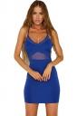 Womens Sexy Sheer Halter Backless Clubwear Dress Blue