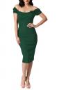 Womens Off Shoulder Bow Decor Short Sleeve Plain Midi Dress Green