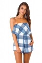 Womens Sexy Strapless Ruffle Strips Printed Romper Blue