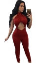 Ladies Sexy Cut Out Lace Patchwork Open Back Jumpsuit Ruby