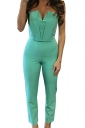 Womens Sexy Strapless V-neck High Waist Jumpsuit Turquoise
