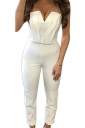 Womens Sexy Strapless V-neck High Waist Jumpsuit White
