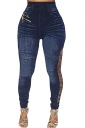 Womens Ripped Sides High Waist Ankle Length Jeans Blue