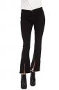 Womens Slit Bell Bottom Plain High Waist Jeans Black