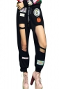 Womens Applique Drawstring Waist Cut Out Leisure Pants Black