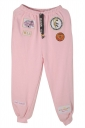 Womens Drawstring Waist Applique Loose Leisure Pants Pink