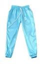 Womens Drawstring Waist Sides Striped Plain Leisure Pants Blue