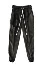 Womens Drawstring Waist Sides Striped Plain Leisure Pants Black