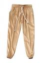 Womens Drawstring Waist Sides Striped Plain Leisure Pants Khaki