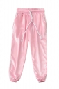 Womens Drawstring Waist Sides Striped Plain Leisure Pants Pink