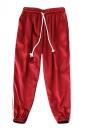 Womens Drawstring Waist Sides Striped Plain Leisure Pants Red