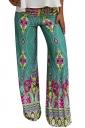 Womens Exotic Printed Color Block Palazzo Leisure Pants Green