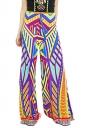 Womens Exotic Printed Color Block Palazzo Leisure Pants Purple