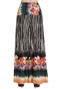 Womens High Waist Striped Floral Printed Palazzo Leisure Pants Orange