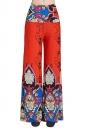 Womens High Waist Color Block Exotic Printed Palazzo Pants Tangerine