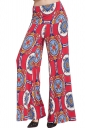 Womens Color Block Exotic Print Palazzo Leisure Pants Red