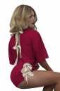 Womens Crewneck Lace Up Crop Top&High Waist Shorts Suit Ruby