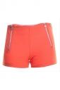 Womens Sides Zipper Decor Plain Mini Shorts Orange