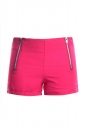 Womens Sides Zipper Decor Plain Mini Shorts Rose Red
