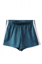 Womens Elastic Waist Sides Striped Mini Shorts Turquoise