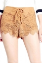 Womens Micro Suede High Waist Slimming Draw String Shorts Camel