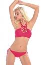 Womens Sexy Halter Plain Strings Padded 2PCS Bikini Watermelon Red