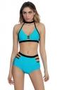 Womens Sexy Bandage Halter High Waist Cutout Bikini Blue