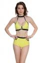 Womens Sexy Bandage Halter High Waist Cutout Bikini Yellow