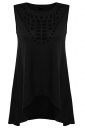 Womens Hollow Out Asymmetric High Low Hem Plain Tank Top Black