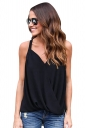 Womens Cross Wrapped High Low Irregular Hem Camisole Top Black