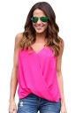 Womens Cross Wrapped High Low Irregular Hem Camisole Top Rose Red