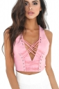 Womens Plunging Neck Cross Lace Up Zipper Back Crop Top Pink