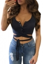 Womens Single-breasted Lace Up Plain Sleeveless Crop Top Navy Blue