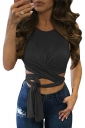 Womens Cross Lace Up Plain Sleeveless Crop Top Black