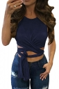 Womens Cross Lace Up Plain Sleeveless Crop Top Sapphire Blue