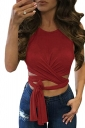 Womens Cross Lace Up Plain Sleeveless Crop Top Ruby