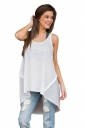 Womens High Low Patchwork Plain Sleeveless Tank Top White