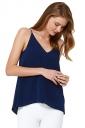 Womens Sexy Plain Strips Chiffon Camisole Top Navy Blue