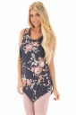 Womens Crew Neck Flower Printed Sleeveless Tank Top Dark Gray