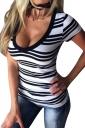 Womens V Neck Striped Short Sleeve Pullover T Shirt White