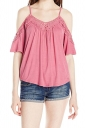 Womens Cold Shoulder Hollow Out Plain Camisole Top Watermelon Red