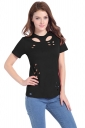 Womens Crewneck Irregular Hollow Out Short Sleeve Plain T Shirt Black